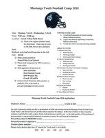 Mustangs Youth Football Camp Application form