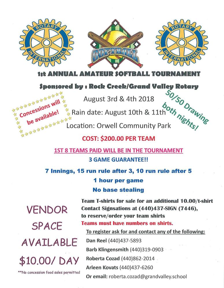 1st Annual Amateur Softball Tournament (sponsored by the Rock Creek/Grand Valley Rotary)