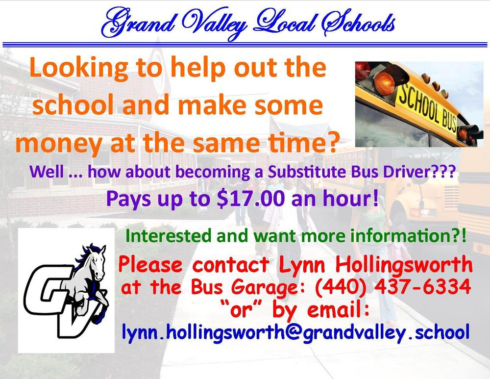 Become a Substitute GV Bus Driver paying up to $17 an hour