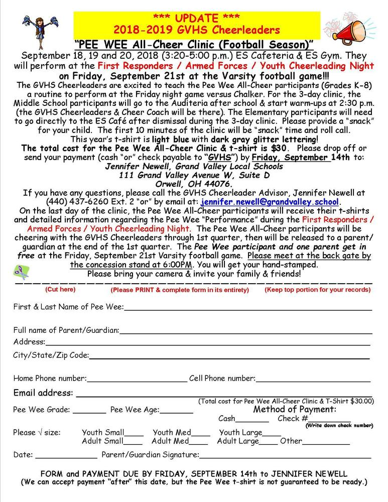 Pee Wee All-Cheer Clinic Sept. 18-20, 2018
