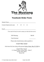 2020 GVHS Yearbook Order Form