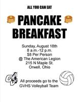 Pancake Breakfast (Proceeds go to GVHS Volleyball Team)
