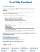 Letter to GV Families regarding flu precautions