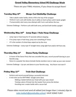 Grand Valley Elementary School PE Challenge Week