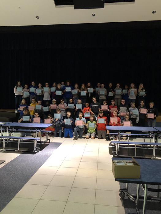 7th grade Straight A's, Honor,  and Merit Roll award recipients