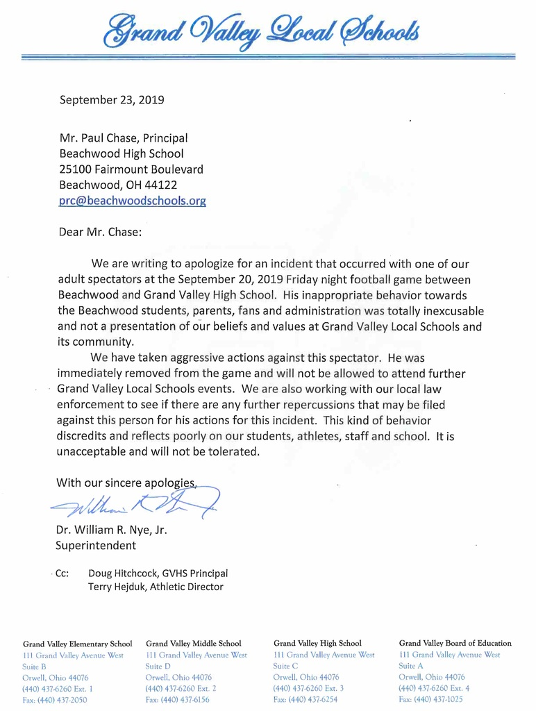 Letter of apology to Beachwood