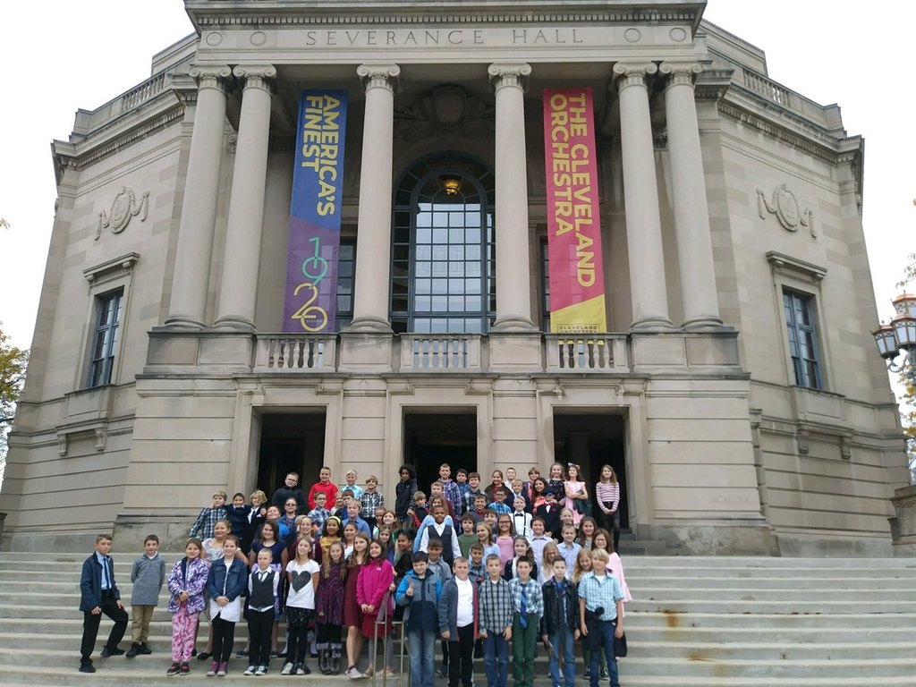 The 4th grade students in front of Severance Hall.