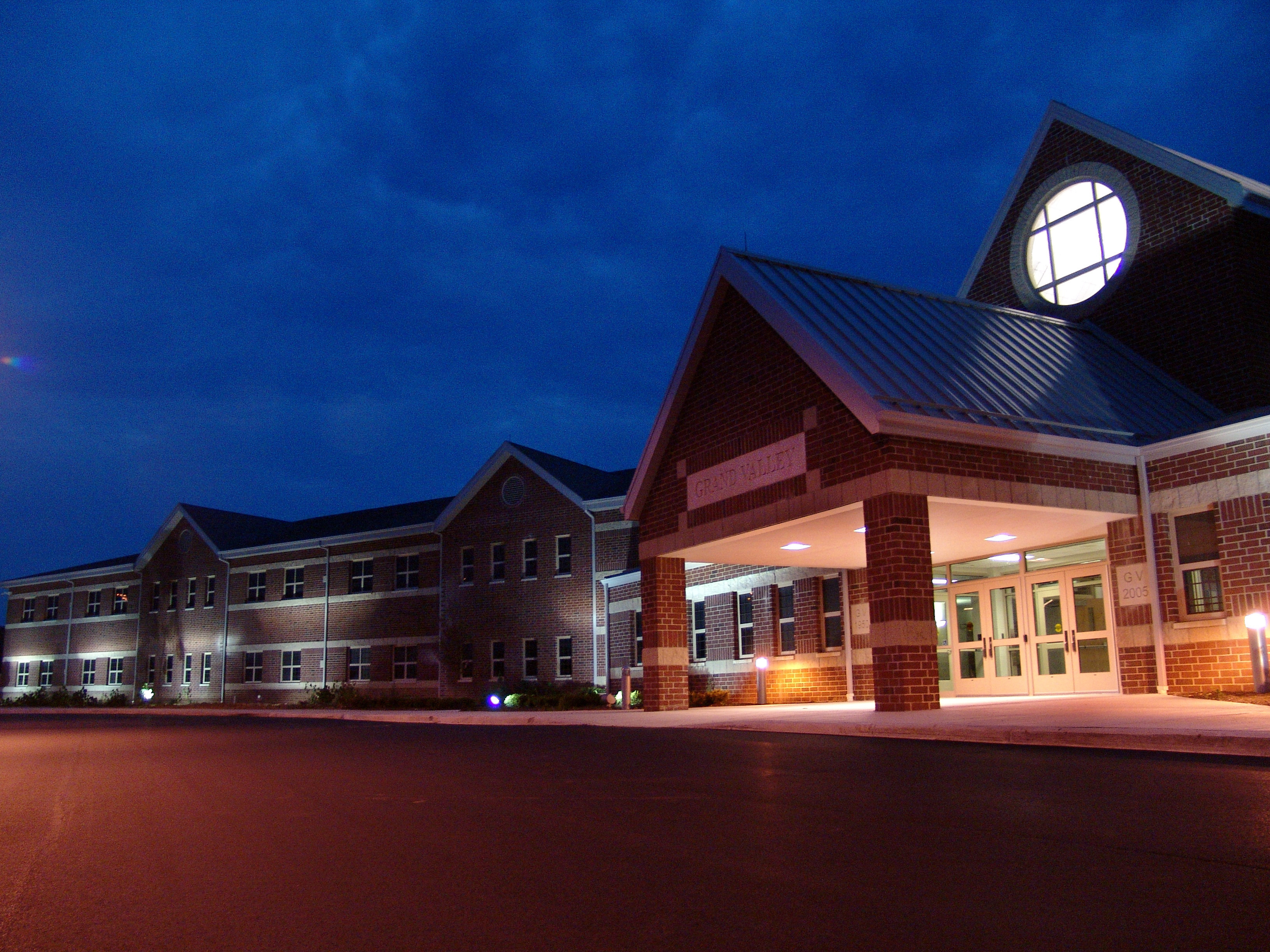 Grand Valley Complex front at night